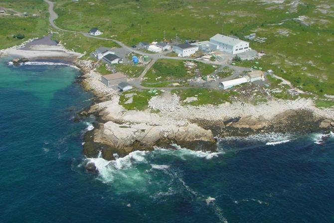 Aerial view of a coastal research facility