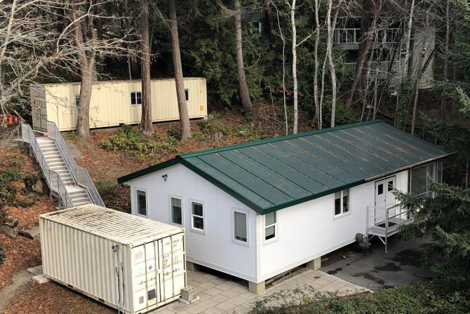 Small laboratory buildings in the woods