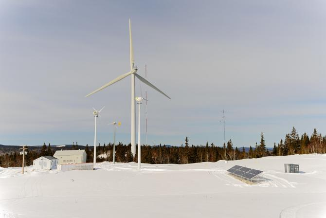 View of several wind turbines on site