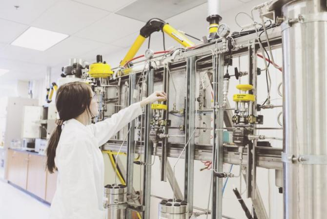 Researcher at work in a lab