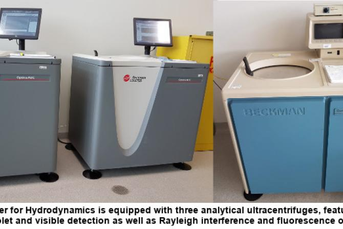 The Center is equipped with three analytical ultracentrifuges featuring multi-wavelength ultraviolet and visible detection as well as Rayleigh interference and fluorescence optics.