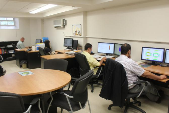 Researchers at work in the lab.