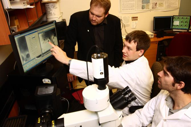 Dr. Hanley and students at work in the lab
