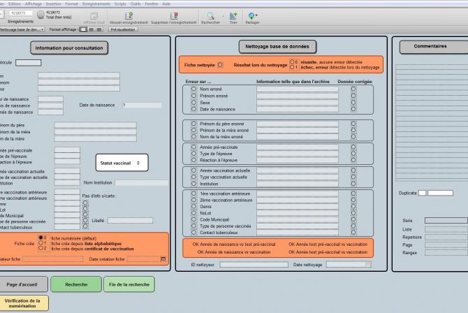 Screen capture of software interface