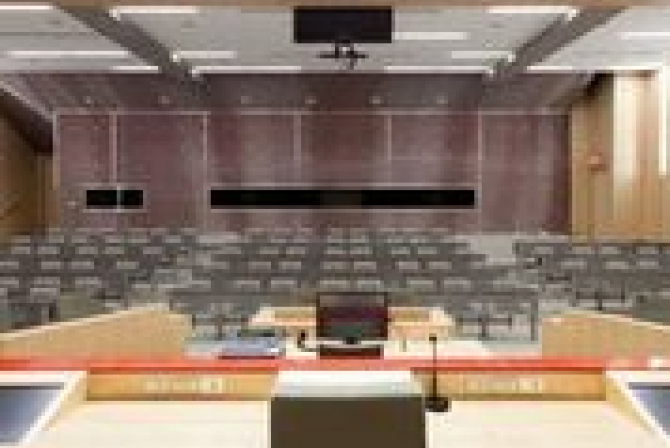 View from behind the judge's desk of the empty courtroom