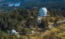 Overhead exterior view of the telescopes at the Dominion Astrophysical Observatory