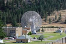 Exterior view of the Dominion Radio Astrophysical Observatory (DRAO) Facility and 26m Telescope