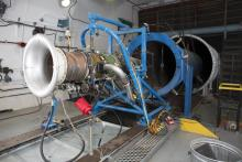 A Turbofan Engine mounted in an Engine Test Cell