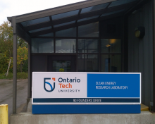 Signage at an entrance of a building: Ontario Tech University, Clean Energy Research Laboratory, 90 Founders Drive